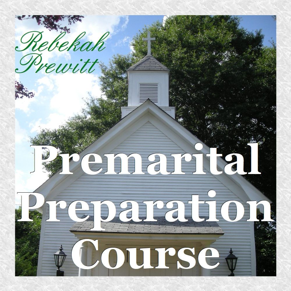 A white church with the words premarital course written across